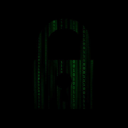 number lock: Vector : Binary number in lock on black background Illustration