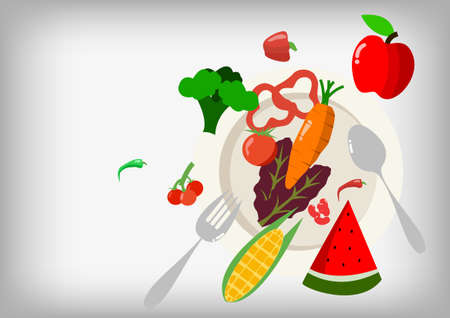 fork and spoon: Vector : Salad vegetable with fork spoon and plate