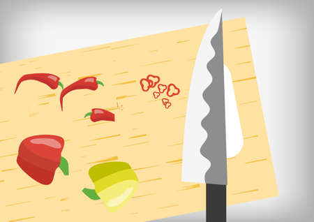 chopped: Vector : Chili chopped with knife