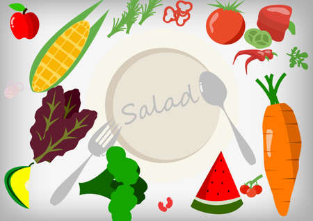 salad plate: Vector : Vegetables and fruits and empty salad plate