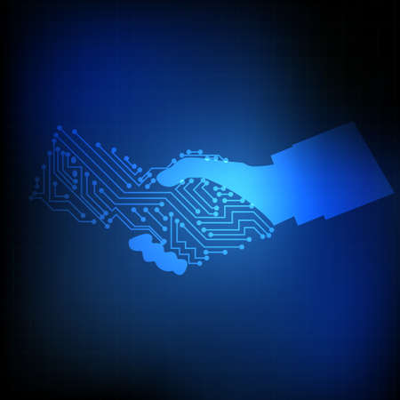Vector : Electronic circuit on hand shaking on blue background