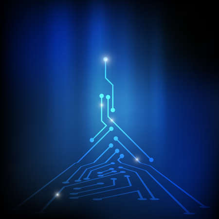 electronic circuit: Vector : Electronic circuit on blue background