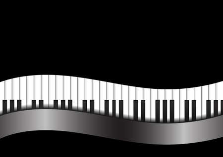 abstract music background: Vector : Piano with curve on black background Illustration
