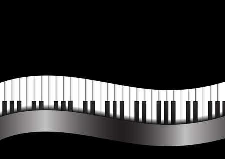 klavier: Vector: Piano mit Kurve auf schwarzem Hintergrund