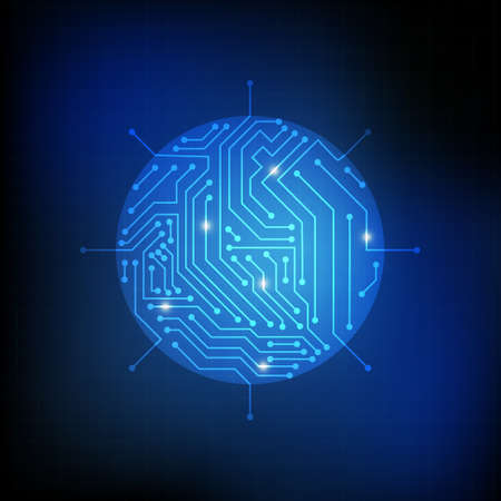 electronic background: Vector : Circle chip and electronic circuit on blue background