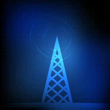 cell phone transmitter tower: Vector : Radio tower and binary number on blue background
