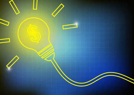 ligh: Vector : Yellow ligh bulb and dollar symbol inside on blue background