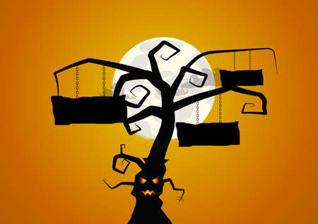 haunted tree: Vector : Tree and signs halloween background