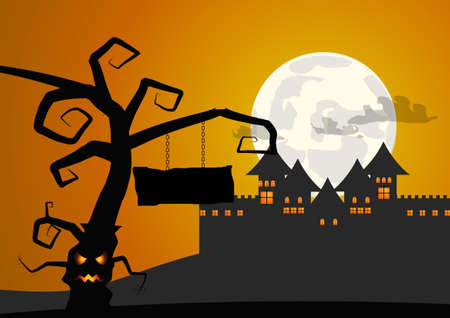 necropolis: Vector : Tree with sign and castle halloween background Illustration