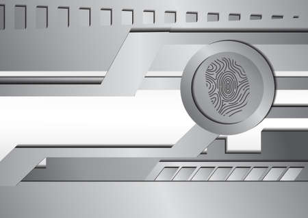 finger print: Vector : Silver metal and finger print abstract background