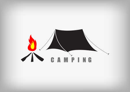 mountain silhouette: Vector : Tent and fire camping on gray background