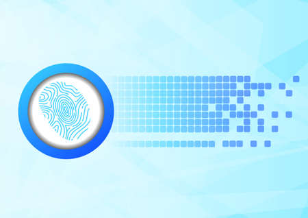 finger print: Vector : Finger print and abstract squares on blue background Illustration