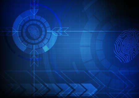 dedo: Vector: Flecha abstracta y el c�rculo con la huella digital de la tecnolog�a de fondo