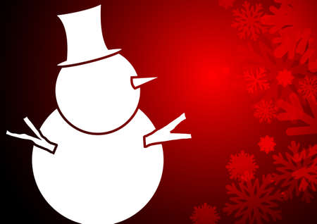 crystal background: Vector : Snowman and ice crystal on christmas background