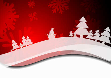 ice crystal: Vector : Snowman christmas trees and ice crystal on red christmas background