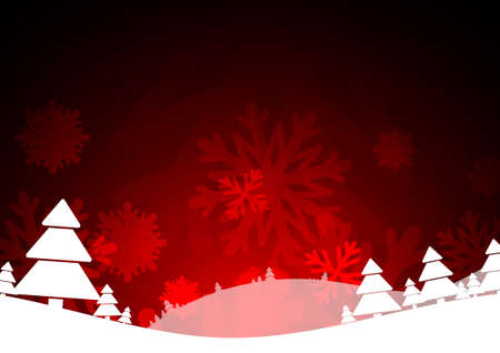 ice crystal: Vector : Christmas trees and ice crystal on red background