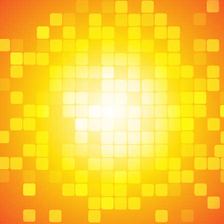 Vector : Abstract square on yellow orange background