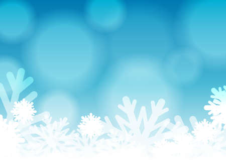 Vector : Ice crystal and bubble on blue winter background