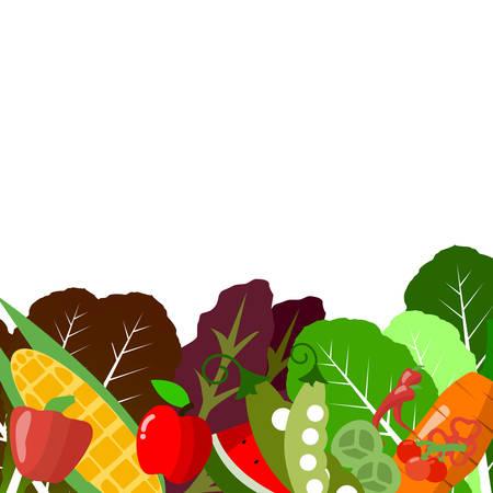 ensalada de verduras: Vector: Frutas y ensalada de verduras en el fondo blanco