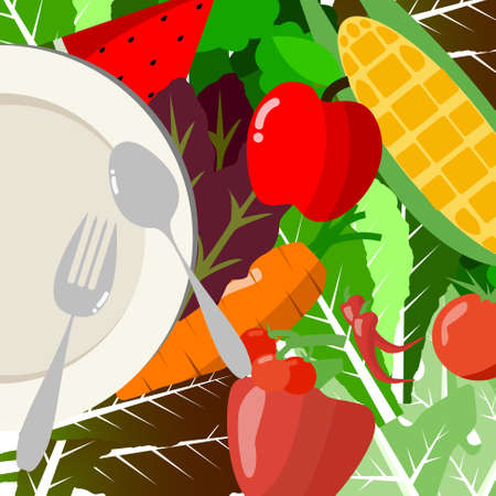 fruit plate: Vector : Fruit and vegetable and empty plate Illustration