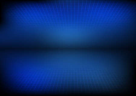 perspective grid: Vector : Blue background with perspective grid