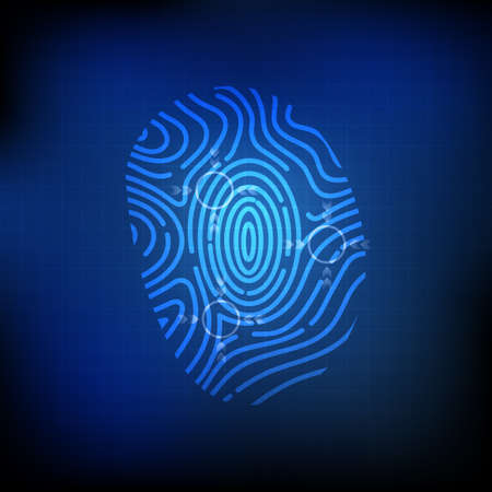biometrics: Vector : Finger print and abstract circle on blue technology background