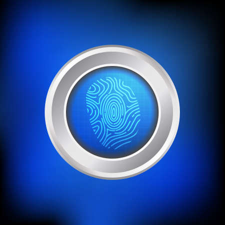 finger print: Vector : Finger print button on blue technology background