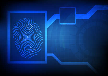 biometrics: Vector : Finger print on technology chart with blue grid background