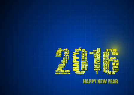 goodluck: Vector : 2016 in line on blue background