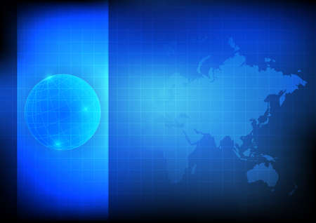 africa map: Vector : Global with map on blue technology background Illustration