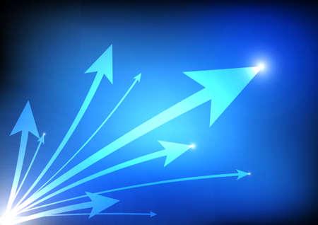 increasing: Vector : Increasing arrows on blue background