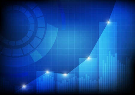 Vector :  Increasing bars and line graph chart with abstract circle