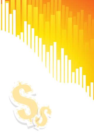 grafica de barras: Los gr�ficos de barras en el fondo blanco de color naranja con el signo de d�lar
