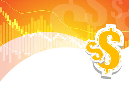 dollar signs: Bar graph and dollar signs on orange and white background Illustration