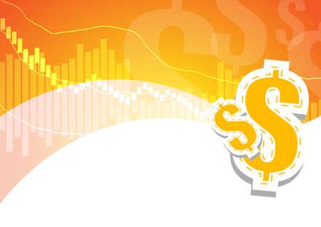 signos de pesos: gráfico de barras y de dólar en el fondo naranja y blanco