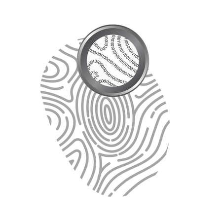 forensics: Vector : Binary code in fingerprint on white background Illustration