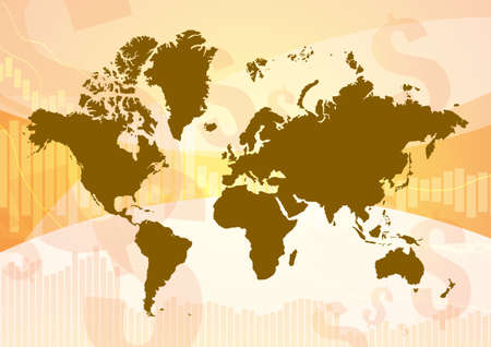 Vector : World map on business graph