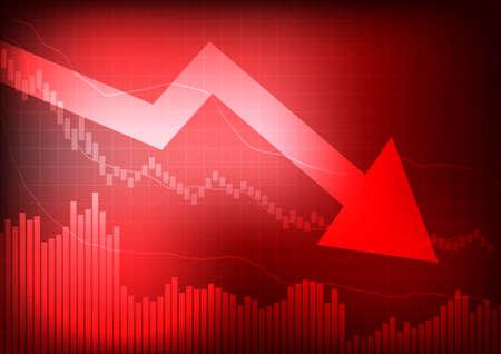 벡터 : 빨간색 배경에 그래프와 화살표 감소 일러스트
