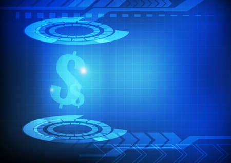 Vector : Dollar signs on abstract circle and arrow on blue background