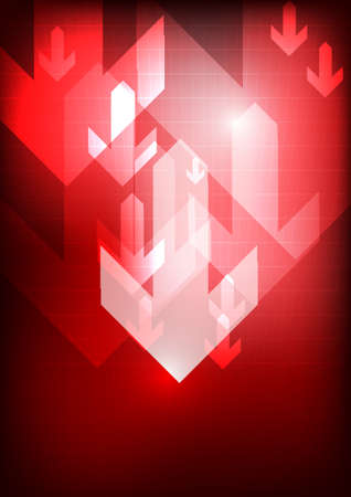 Vector : Down arrows on red grid background Illustration