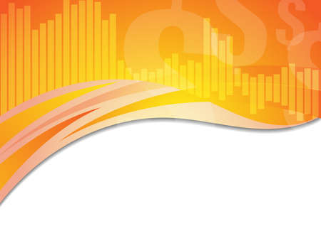 Vector : Bar graph and dollar signs on orange and white background