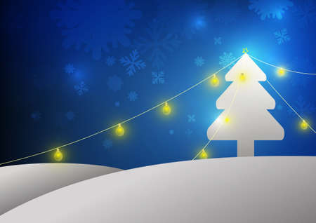 Vector : Christmas tree and lamps on blue background