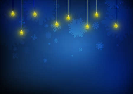 Vector : Ice crystal and lamps on blue backgrond Illustration
