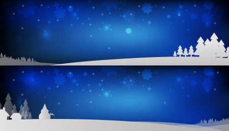 Vector : Christmas trees and snowman with snowflake on blue background