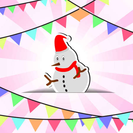 Vector : Snowman and flags on christmas background Illustration