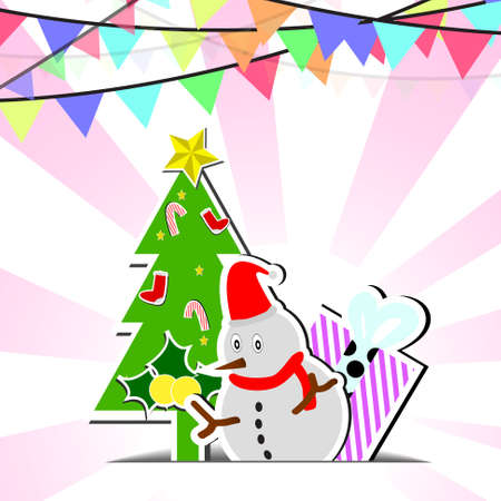 Vector : Snowman and flags on chirstmas background