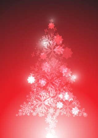 Vector : Snow flake christmas tree concept Illustration