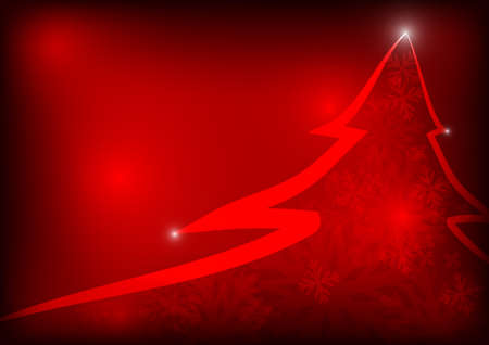 Vector : Christmas tree with snowflake on red background