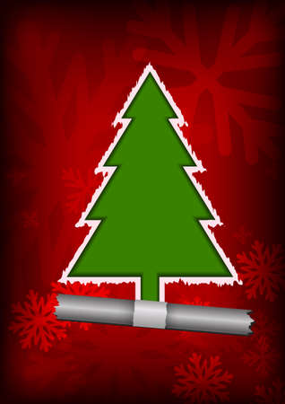 Vector : Christmas tree on red background with tear paper concept Illustration