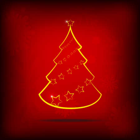 Vector : Stars and christmas on red background